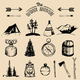 Camping sketched elements. Vector outdoor adventures collection for retro hipster emblems, badges, labels etc. Royalty Free Stock Photo