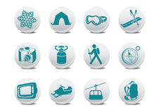 Camping/ski buttons Stock Photo