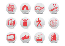 Camping/ski Buttons Stock Image