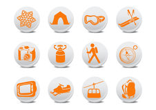 Camping/ski buttons Royalty Free Stock Photos
