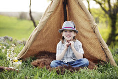 Camping with a smile Stock Photos