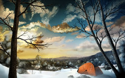 Camping In The Snow. Illustration of a camper's tent in a vast snow covered landscape Royalty Free Stock Photos