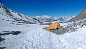 Camping in the snow. Camping in the High altitude mountains of the Annapurna range in Nepal Stock Images