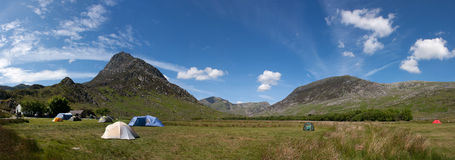 Camping in Snowdonia. Means keeping the tent ziooed up to keep the sheep out stock photography
