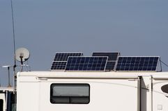Camping with Solar 11. Camping with solar panels for converting energy from the sun to electricity Royalty Free Stock Images