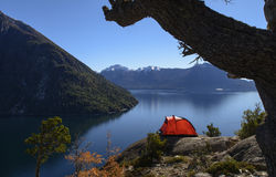 Camping in South America, Bariloche, Argentina Royalty Free Stock Images