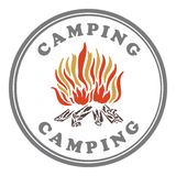 Camping stamp, vintage color Stock Photography