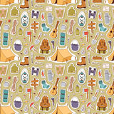 Camping stickers in hand drawn style vector seamless pattern Royalty Free Stock Images