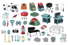 Camping story. Flat vector design elements of camping equipment vector illustration