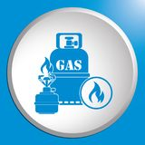 Camping stove with gas bottle icon. Vector illustration Royalty Free Stock Photo