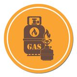 Camping stove with gas bottle icon. Vector illustration Stock Photography