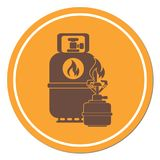 Camping stove with gas bottle icon. Flat icon isolated. Vector illustration Stock Photos