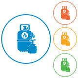 Camping stove with gas bottle icon Royalty Free Stock Image