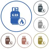 Camping stove with gas bottle icon vector Stock Images