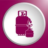 Camping stove with gas bottle icon vector Stock Image
