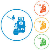 Camping stove with gas bottle icon Stock Photography