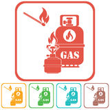 Camping stove with gas bottle icon vector Stock Photography
