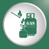 Camping stove with gas bottle icon vector Royalty Free Stock Photo