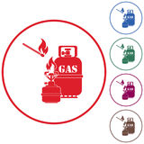 Camping stove with gas bottle icon vector Stock Photos