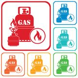 Camping stove with gas bottle icon Stock Image