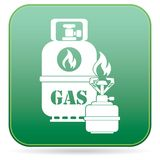Camping stove with gas bottle icon. Vector illustration Stock Images