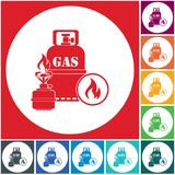 Camping stove with gas bottle icon. Vector illustration Royalty Free Stock Photography