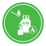 Camping stove with gas bottle icon Stock Photos