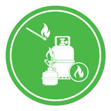 Camping stove with gas bottle icon Stock Photo
