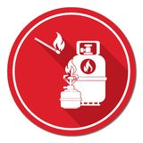 Camping stove with gas bottle icon vector Royalty Free Stock Photography