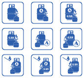 Camping stove with gas bottle icons set Stock Photo