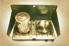 Camping Stovewith Vintage Effects Stock Images