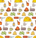 Camping stuff kawaii doodle seamless background. Can be use as wallpaper, packaging etc vector illustration