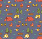 Camping stuff kawaii doodle seamless background royalty free illustration