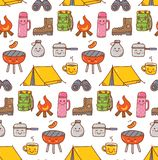 Camping stuff kawaii doodle seamless background. Can be use as wallpaper, packaging etc royalty free illustration