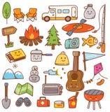 Camping stuff kawaii doodle set stock illustration