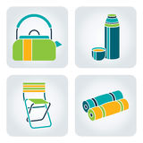 Camping supplies. Set of 4 icons with camping supplies: kettle, thermos, camp-chair, mat vector illustration