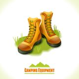 Camping symbol boots. Camping summer outdoor activity concept equipment hiking boots symbol vector illustration Stock Image