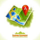 Camping symbol travel map Stock Images