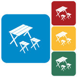 Camping table and stool icon. Vector illustration royalty free illustration