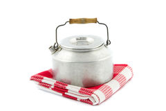 Camping tea kettle on a tea towel Royalty Free Stock Images