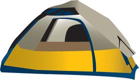 Camping tent. Illustration of domed camping tent, isolated on white background Royalty Free Stock Photos