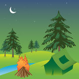 Camping in a tent. Abstract colorful illustration with a small fire and a green tent near fir trees during the night. Camping theme Royalty Free Stock Photo