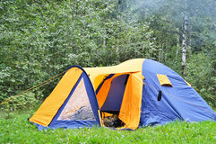 Camping tent. The photo of camping tent in summer forest stock images