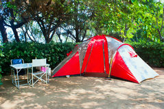 Camping tent. Red camping tent at campsite Royalty Free Stock Photography