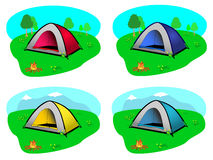 Camping Tent with Background Landscape. Outdoor camping dome tents in yellow, blue, red and turquoise with grey facade. 4-pole type. Two landscapes provided stock illustration