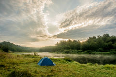 Camping tent on the Bank of the river Volga. Royalty Free Stock Image
