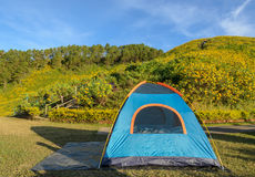 Camping tent with beautiful mountain nature scene Royalty Free Stock Image