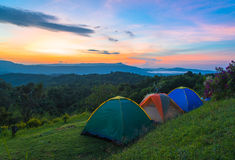 Camping tent in campground at national park with sunrise Stock Photo
