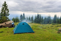 Camping tent at Carpathian mountains, summertime journey, Ukraine, Europe. Camping tent at Carpathian mountains, summertime journey, Ukraine, Europe Stock Photography
