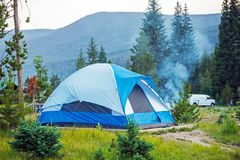 Camping Tent in Colorado. Blue Tent Campground stock photos